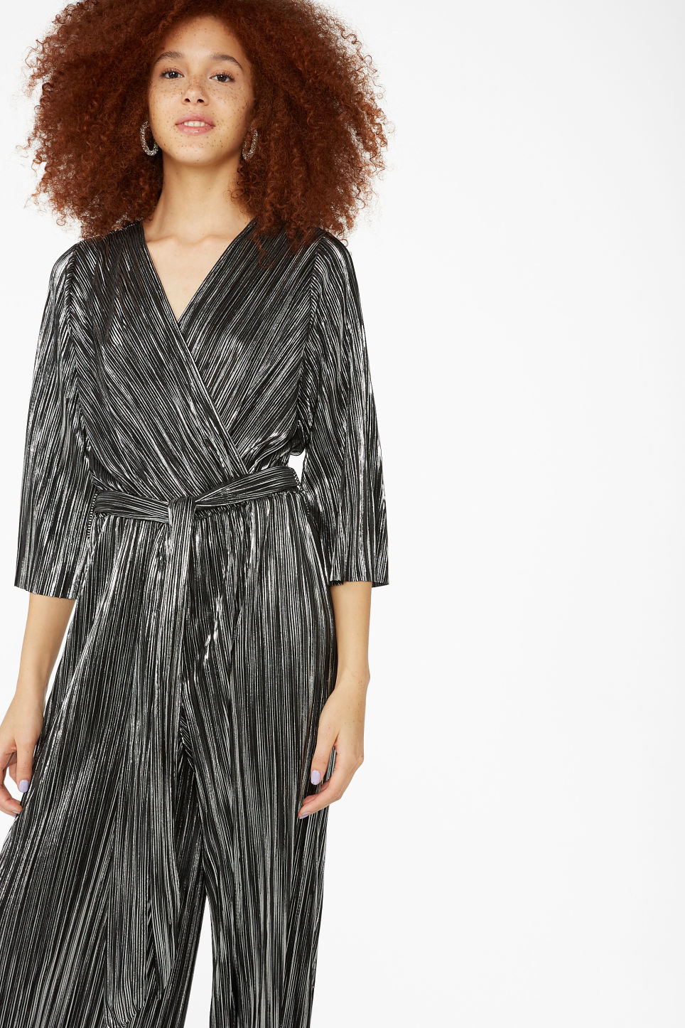 Model front image of Monki pleated jumpsuit in silver