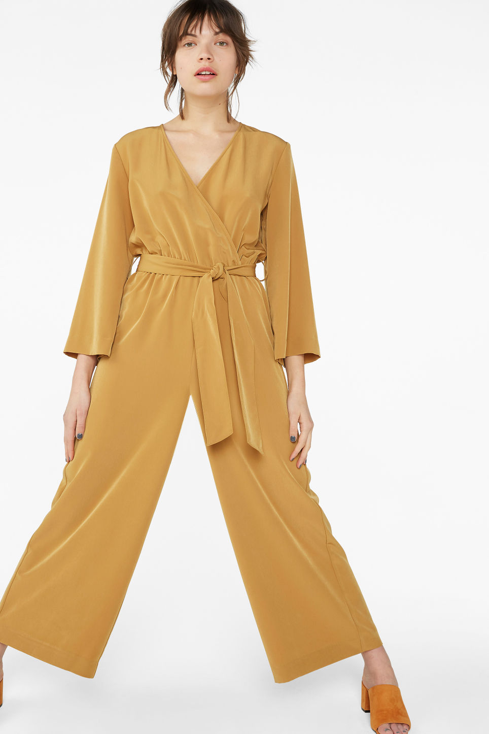 Model front image of Monki belted jumpsuit in yellow