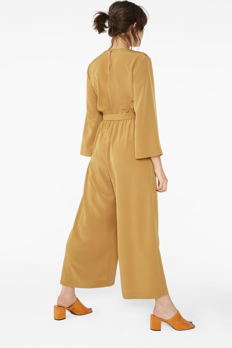 Model back image of Monki belted jumpsuit in yellow