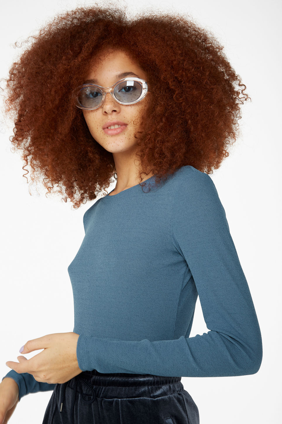 Model front image of Monki ribbed long-sleeved top in blue