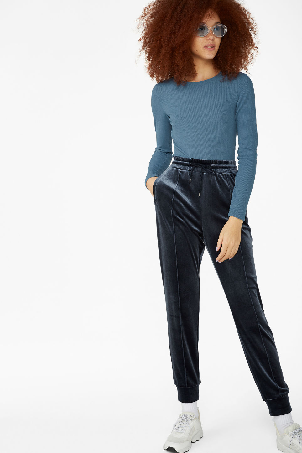 Model side image of Monki ribbed long-sleeved top in blue