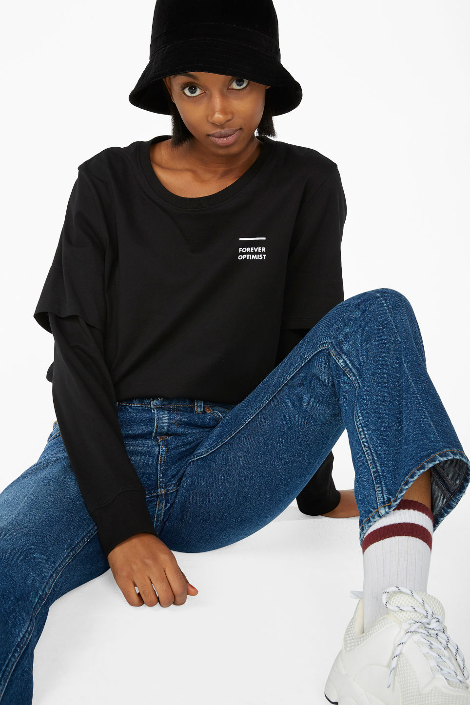 Model front image of Monki double-sleeved shirt in black
