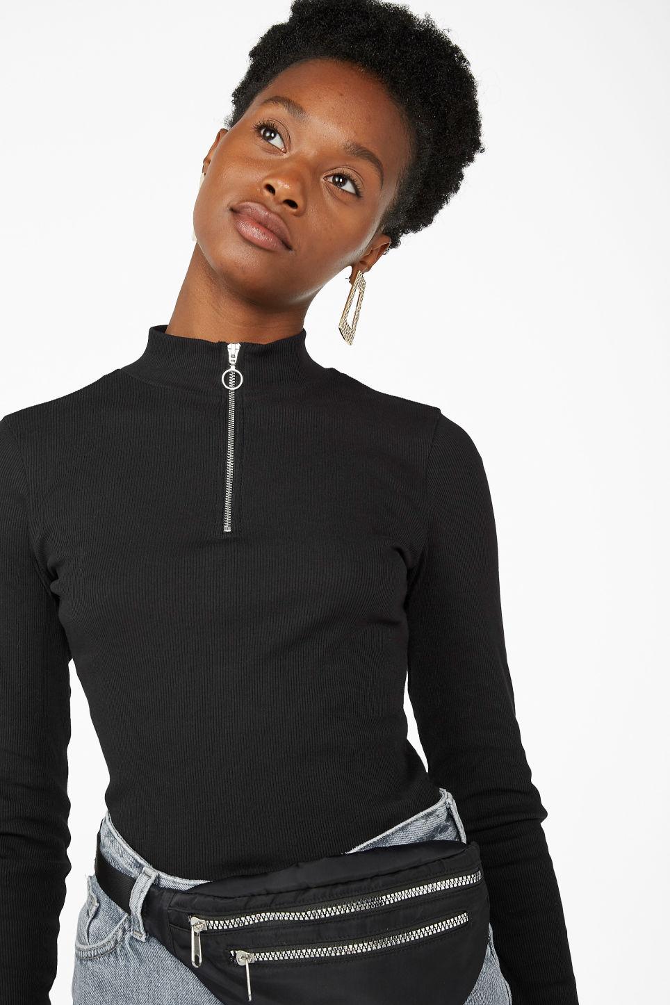 Model front image of Monki low turtleneck top in black