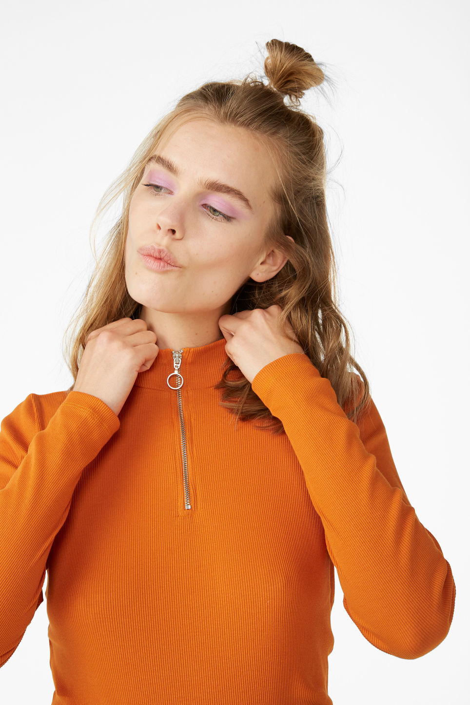 Model front image of Monki low turtleneck top in orange