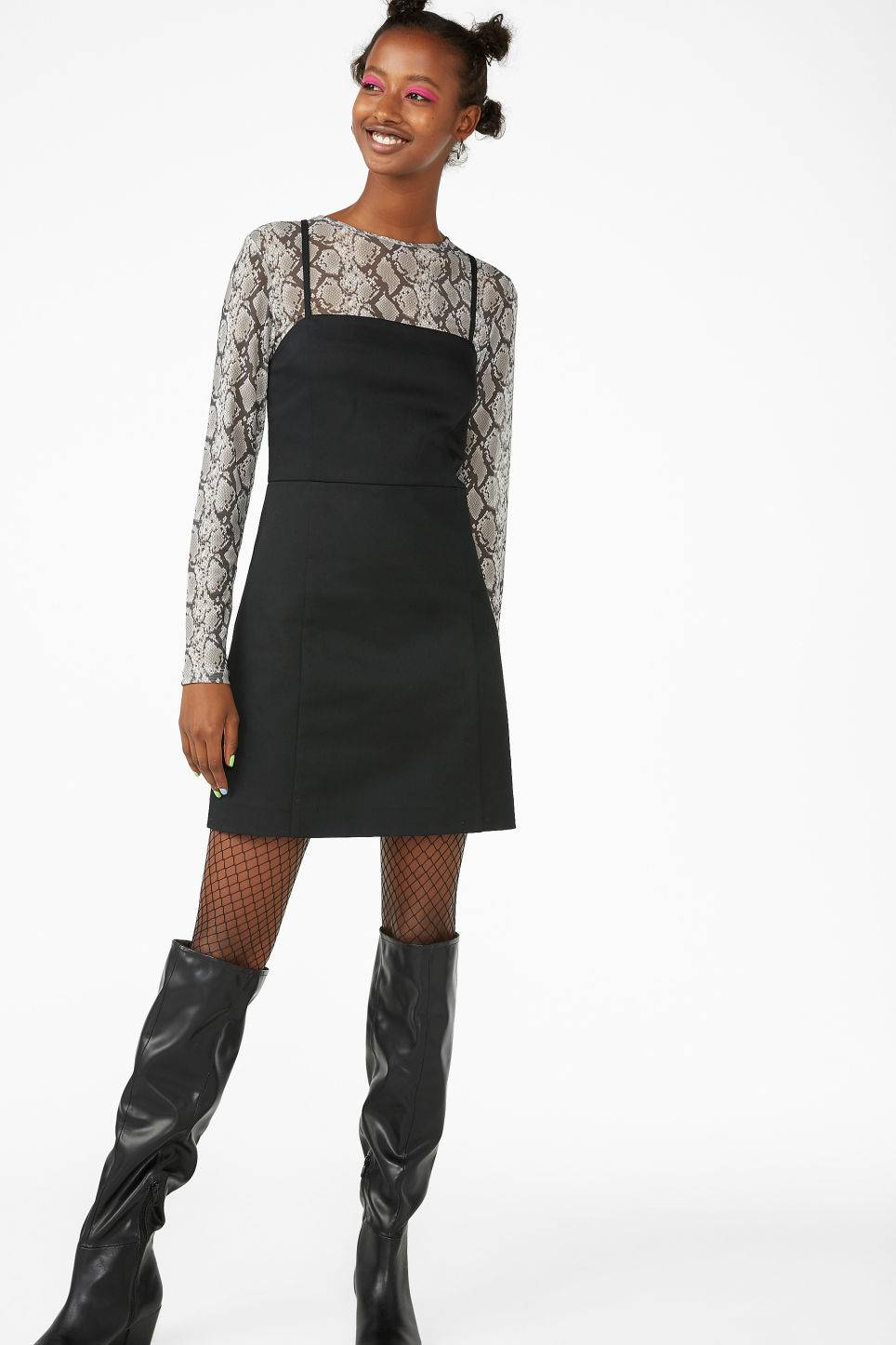 Model front image of Monki spaghetti strap dress in black