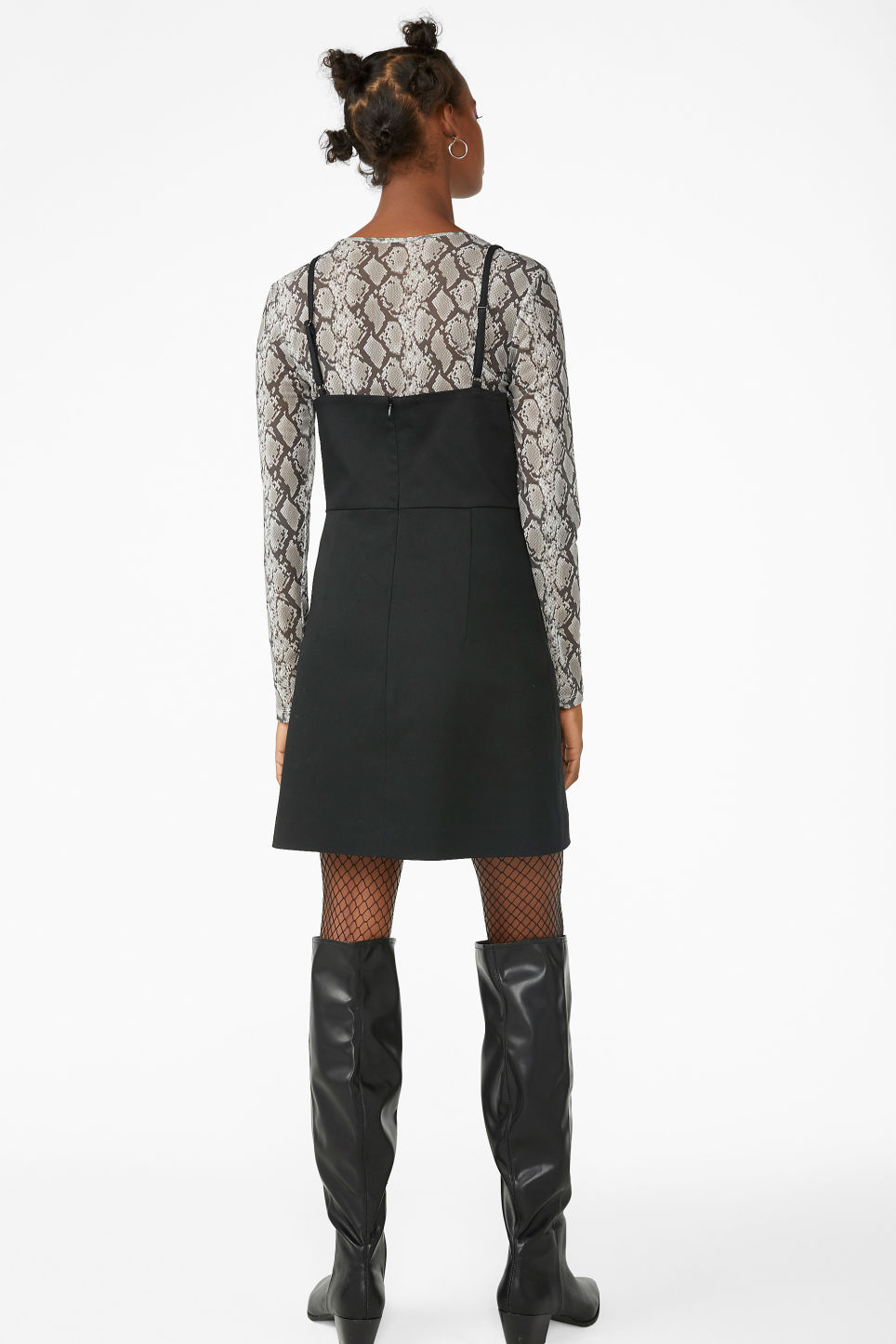 Model back image of Monki spaghetti strap dress in black