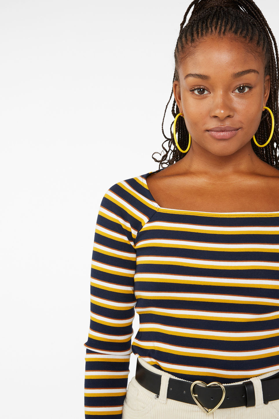 Model front image of Monki ribbed fitted top  in blue