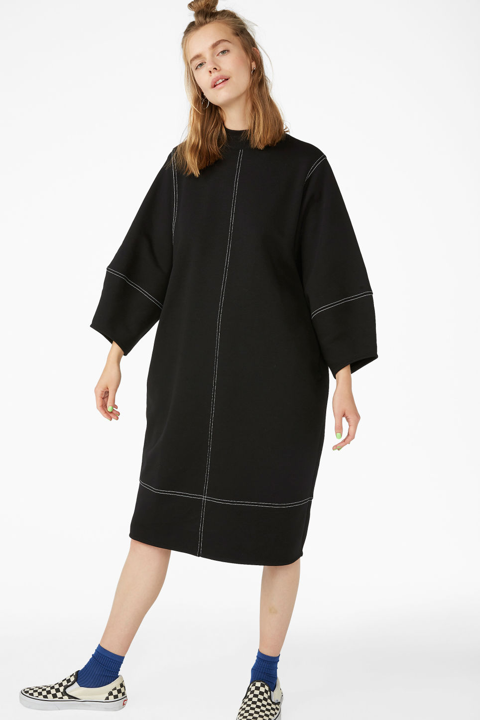 aa4bc958d3 Model front image of Monki contrast stitch sweater dress in black