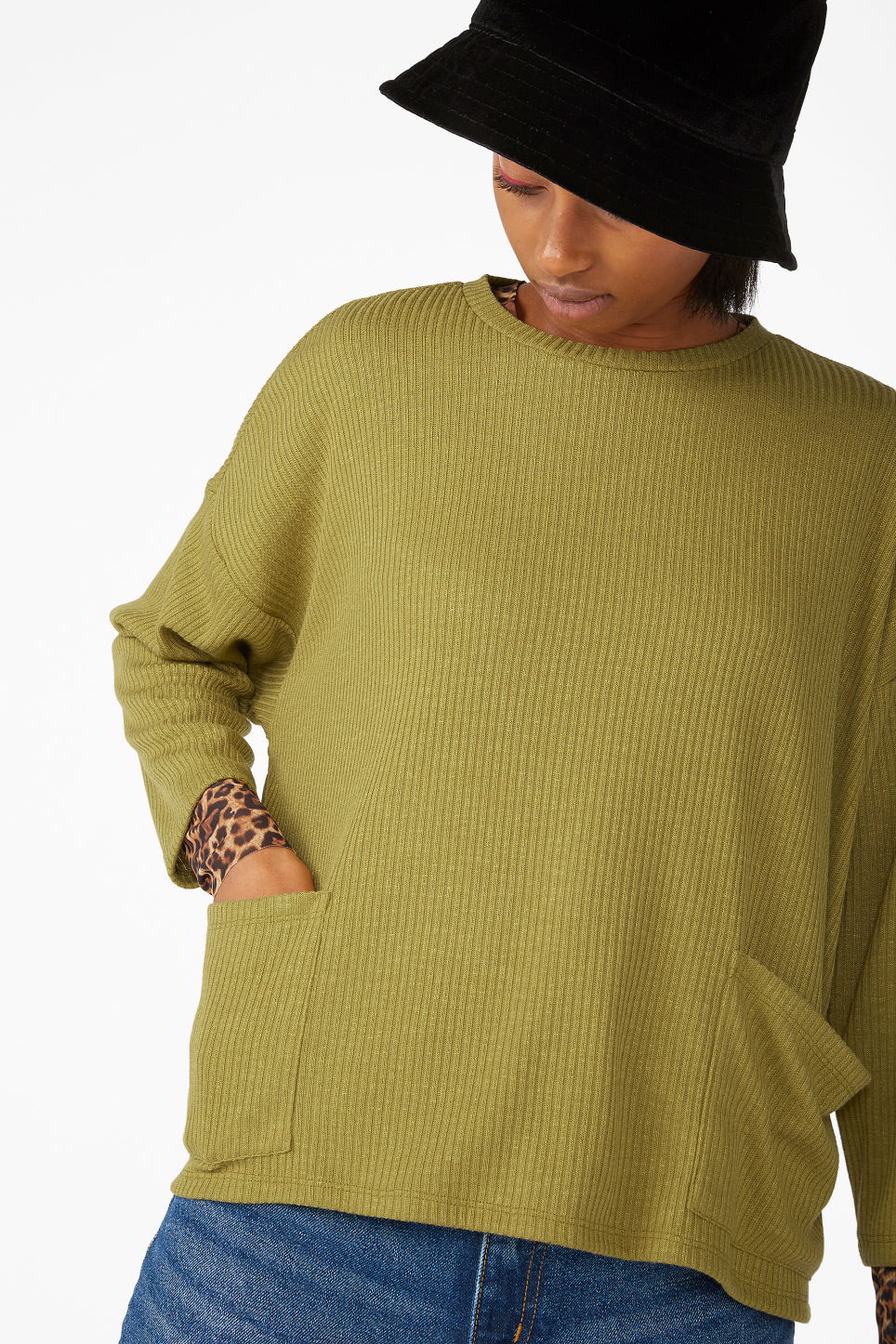 Model front image of Monki ribbed top in yellow