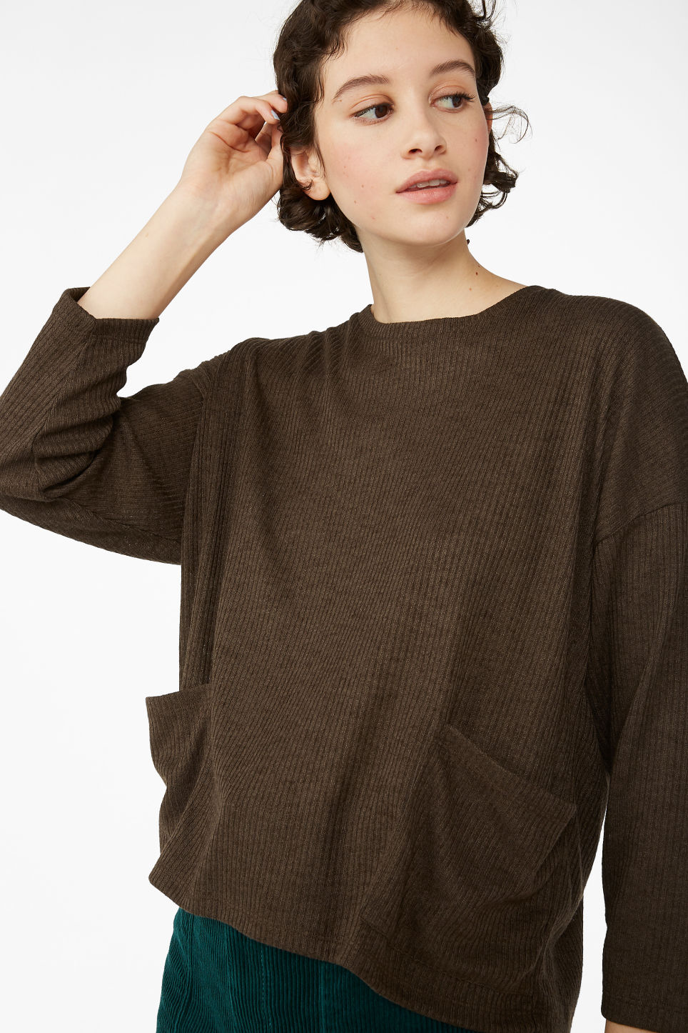 Model front image of Monki ribbed top in brown