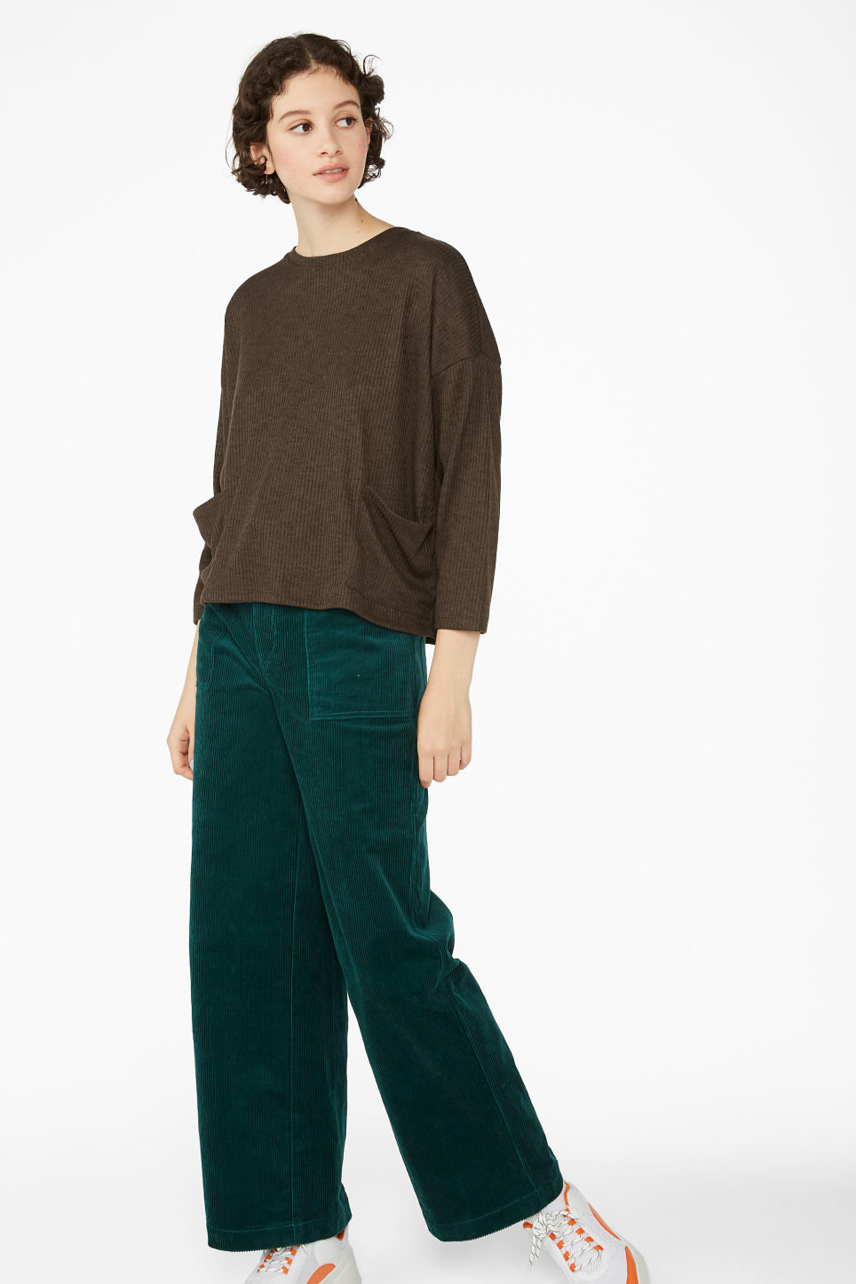Model side image of Monki ribbed top in brown