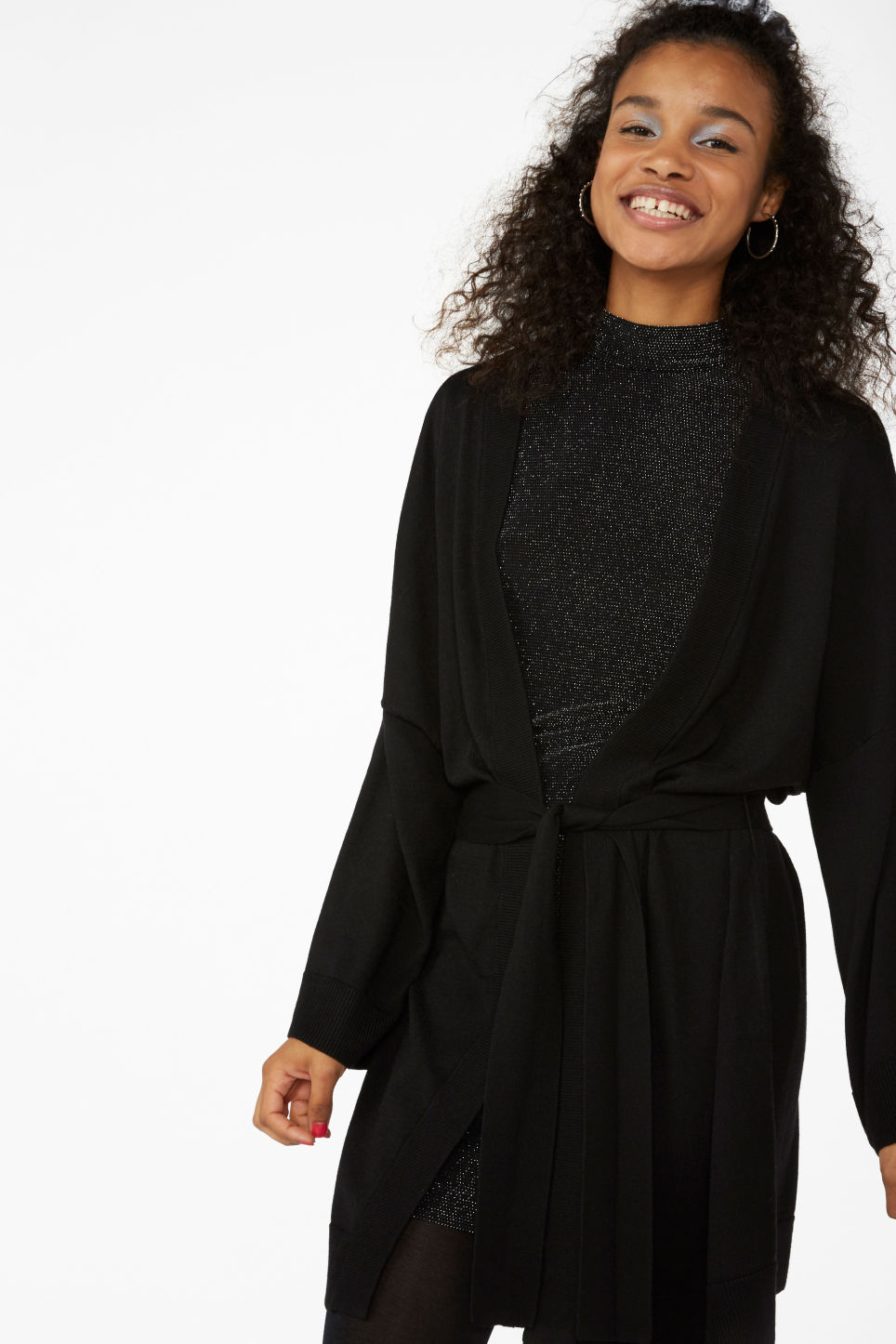Model front image of Monki long cardigan in black