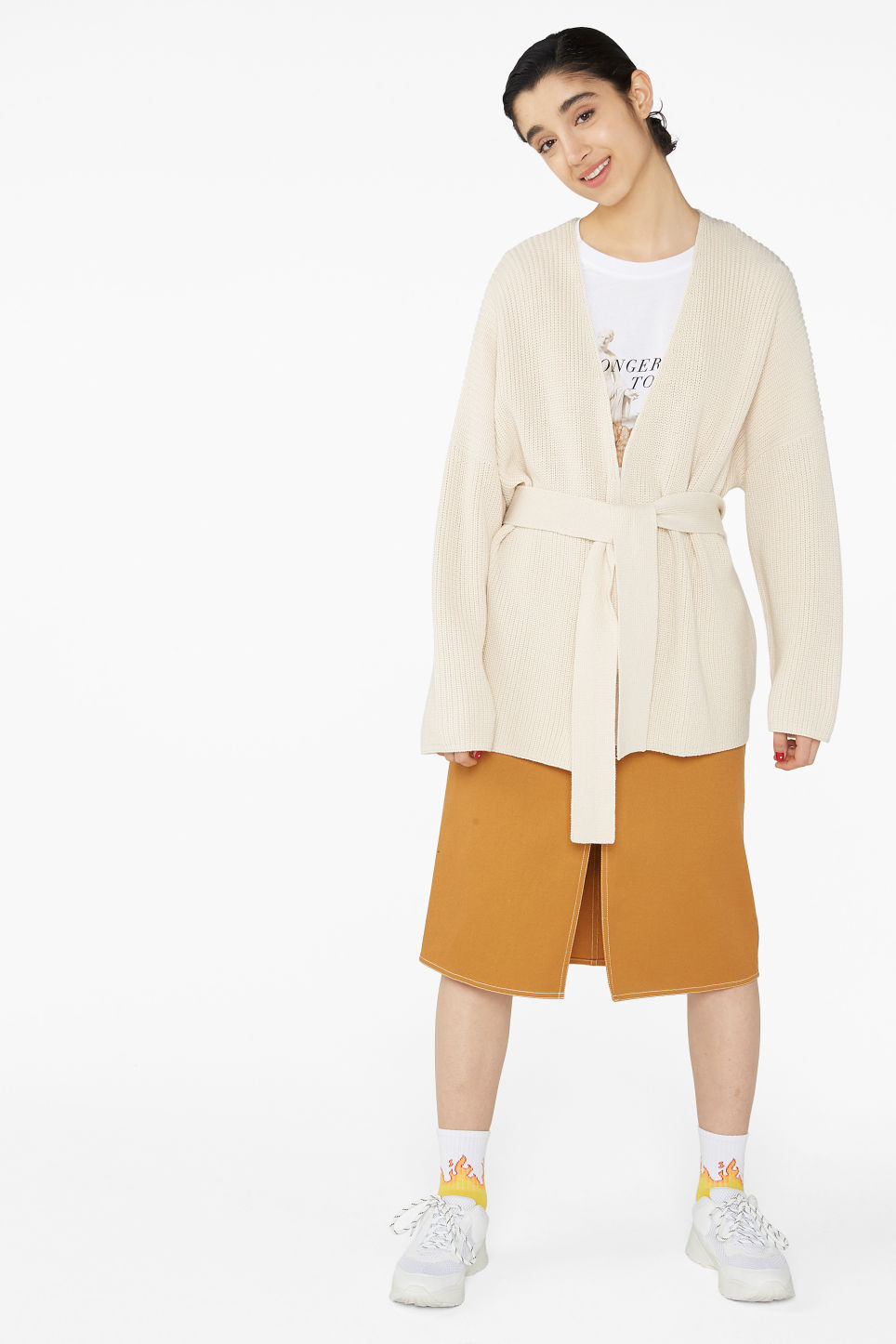 Model front image of Monki chunky knitted cardigan in beige