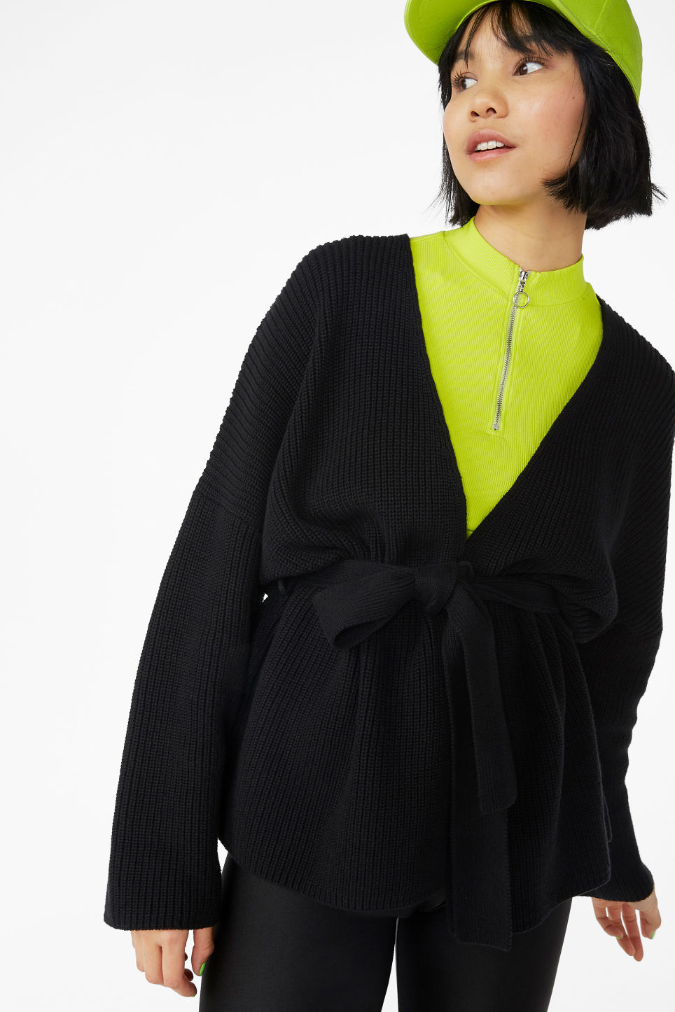 Model front image of Monki chunky knitted cardigan in black