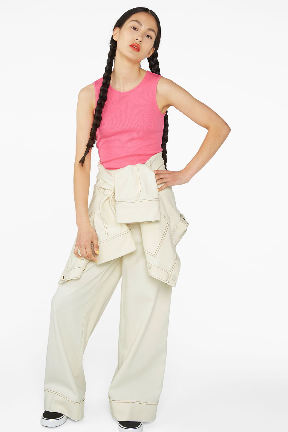 Model front image of Monki cropped tank top in pink