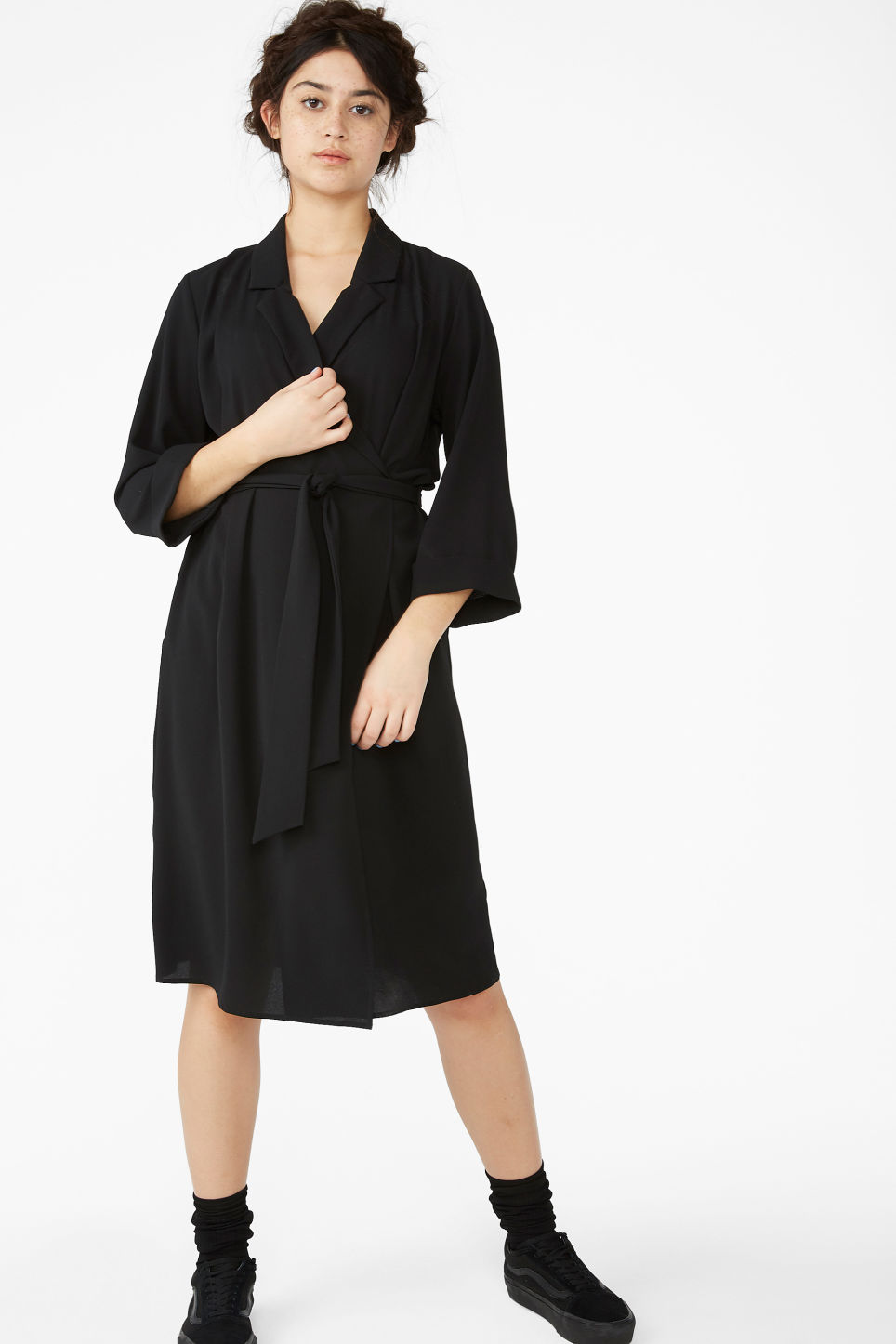 Model front image of Monki dressy wrap dress in black