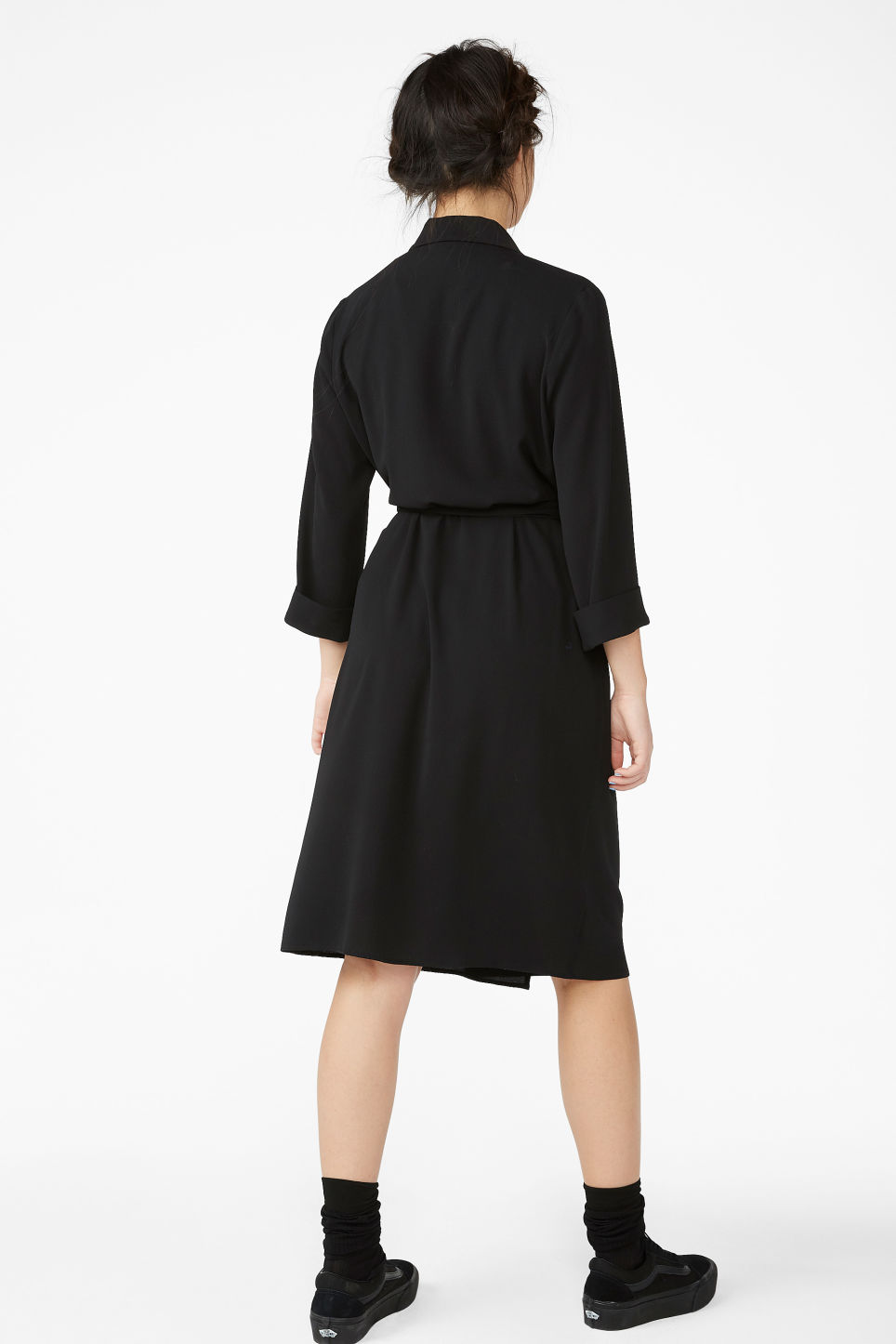 Model back image of Monki dressy wrap dress in black