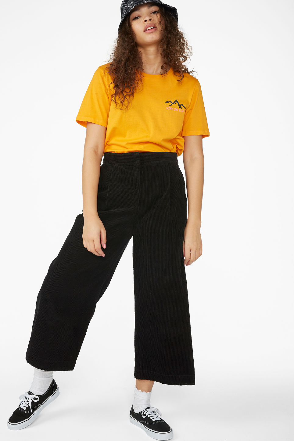 Model front image of Monki corduroy culottes in black