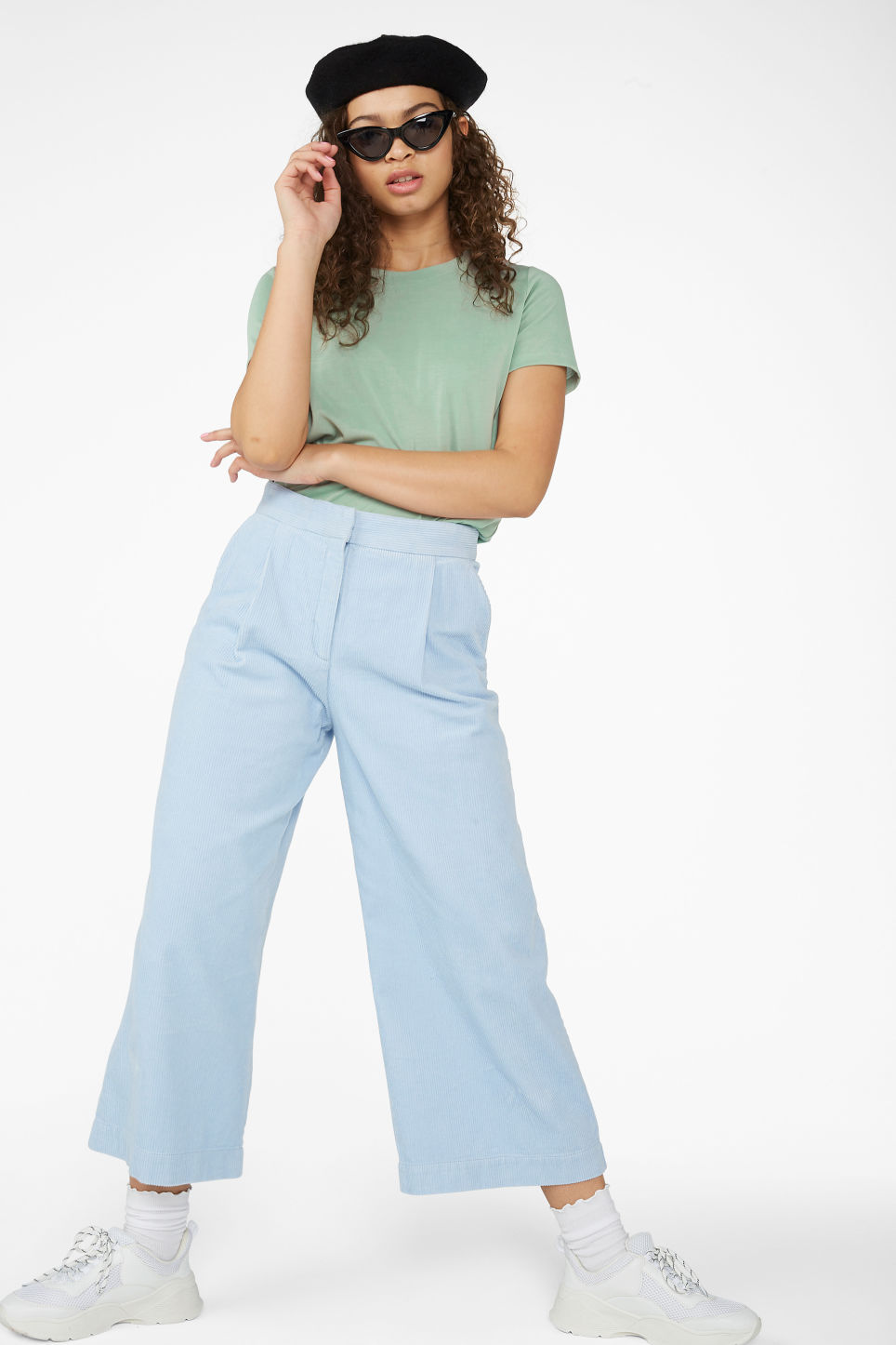 Model front image of Monki corduroy culottes in blue