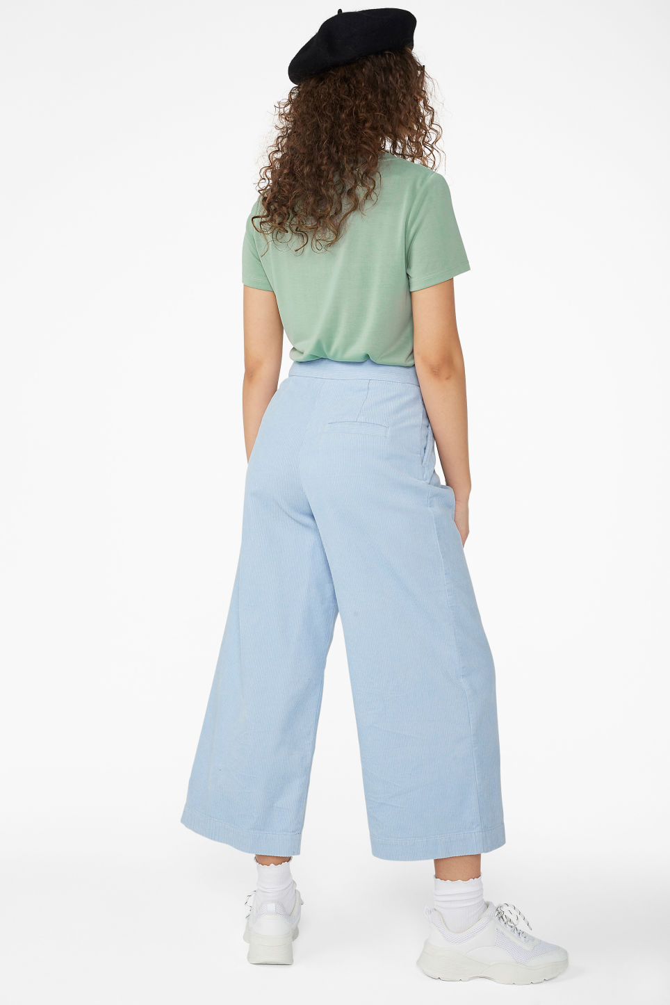 Model back image of Monki corduroy culottes in blue