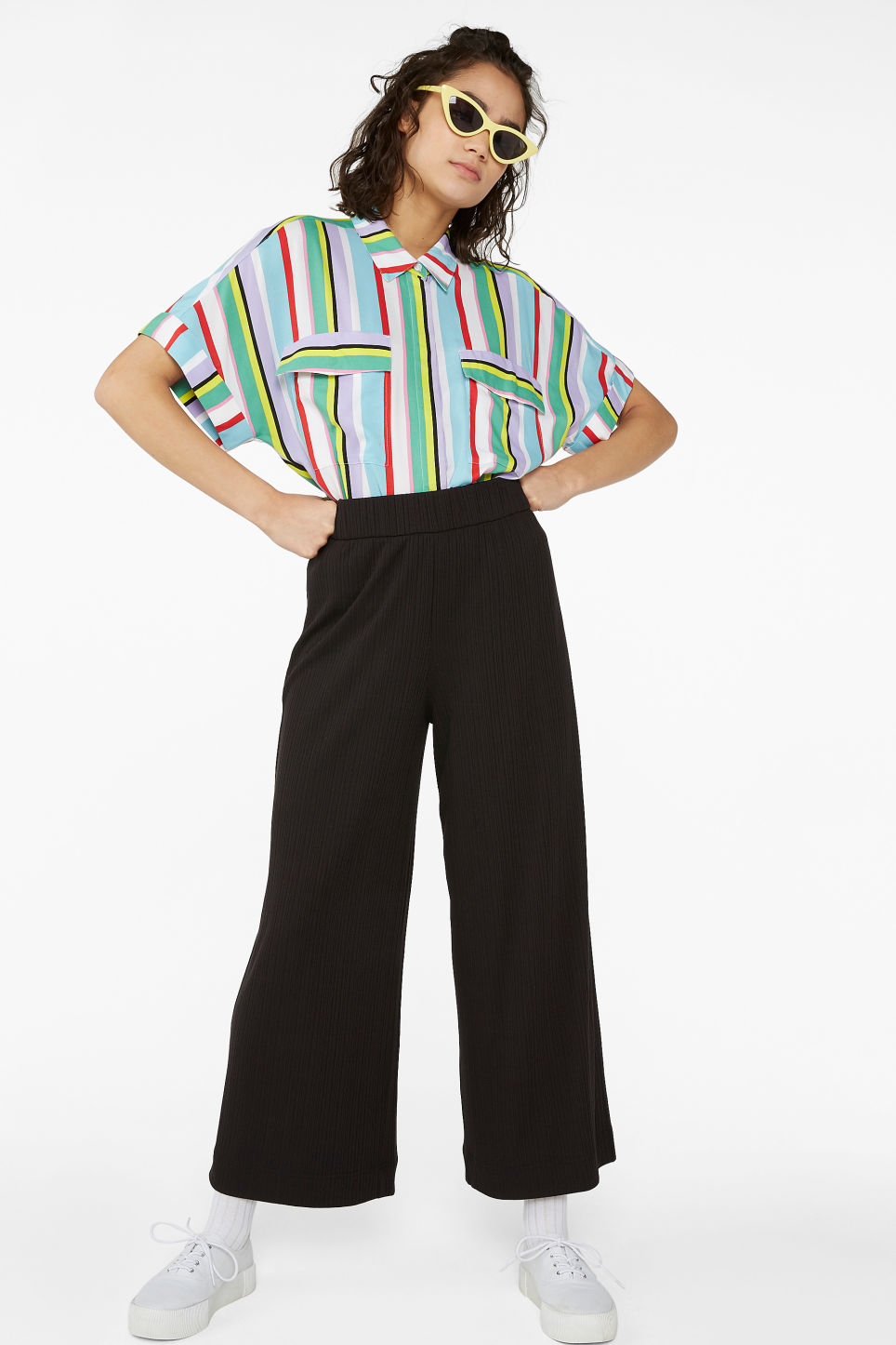 Model front image of Monki wide ribbed trousers in black