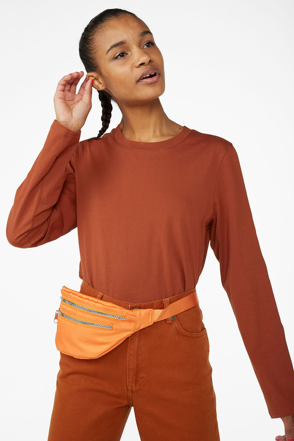 Model front image of Monki long-sleeved top in orange
