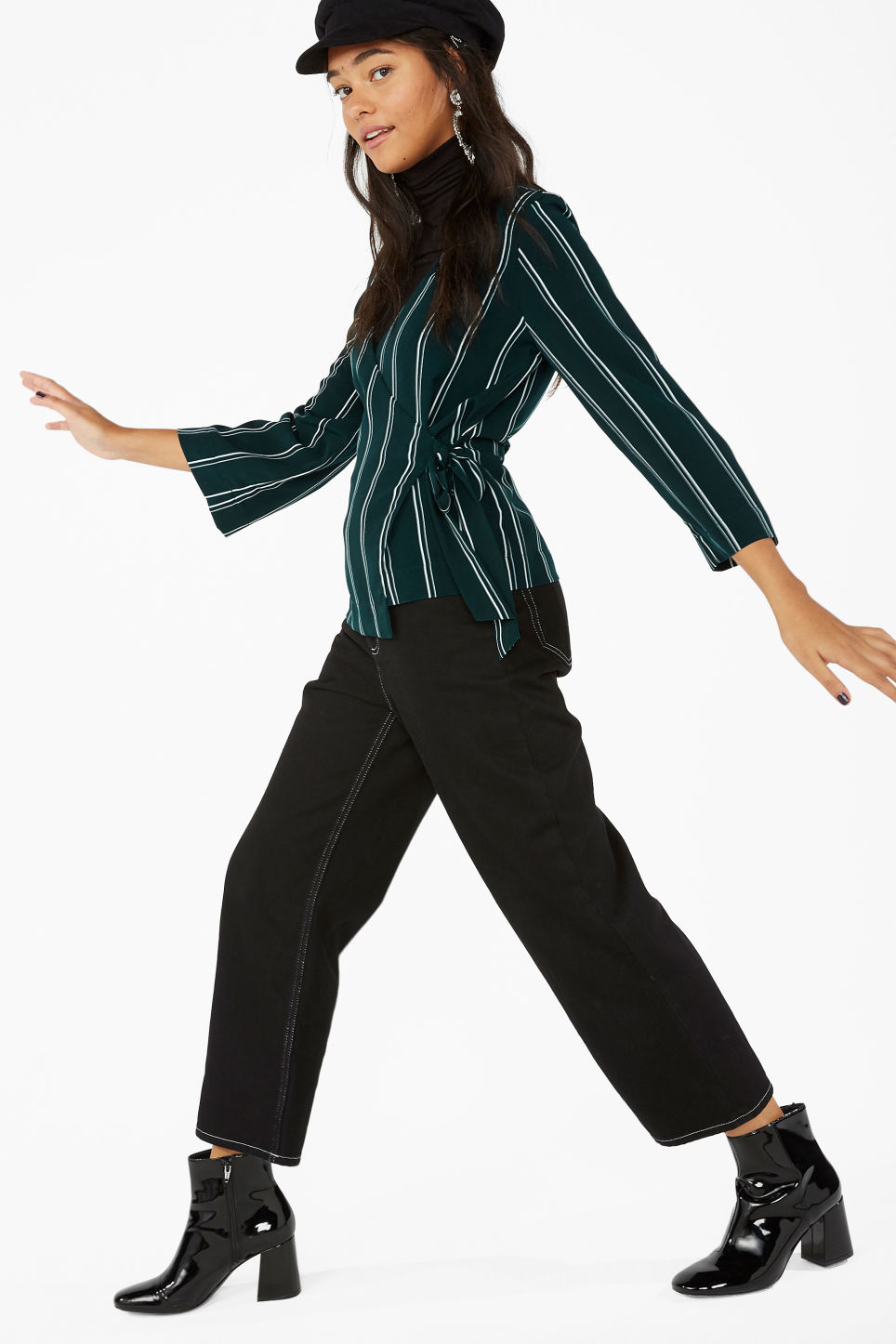 Model front image of Monki silky wrap blouse in green