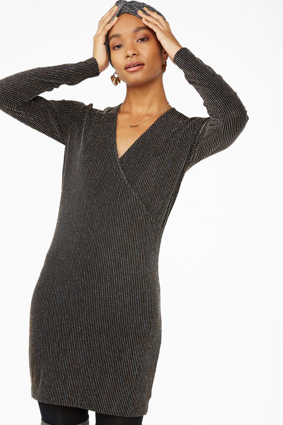 Model front image of Monki lurex wrap dress in black