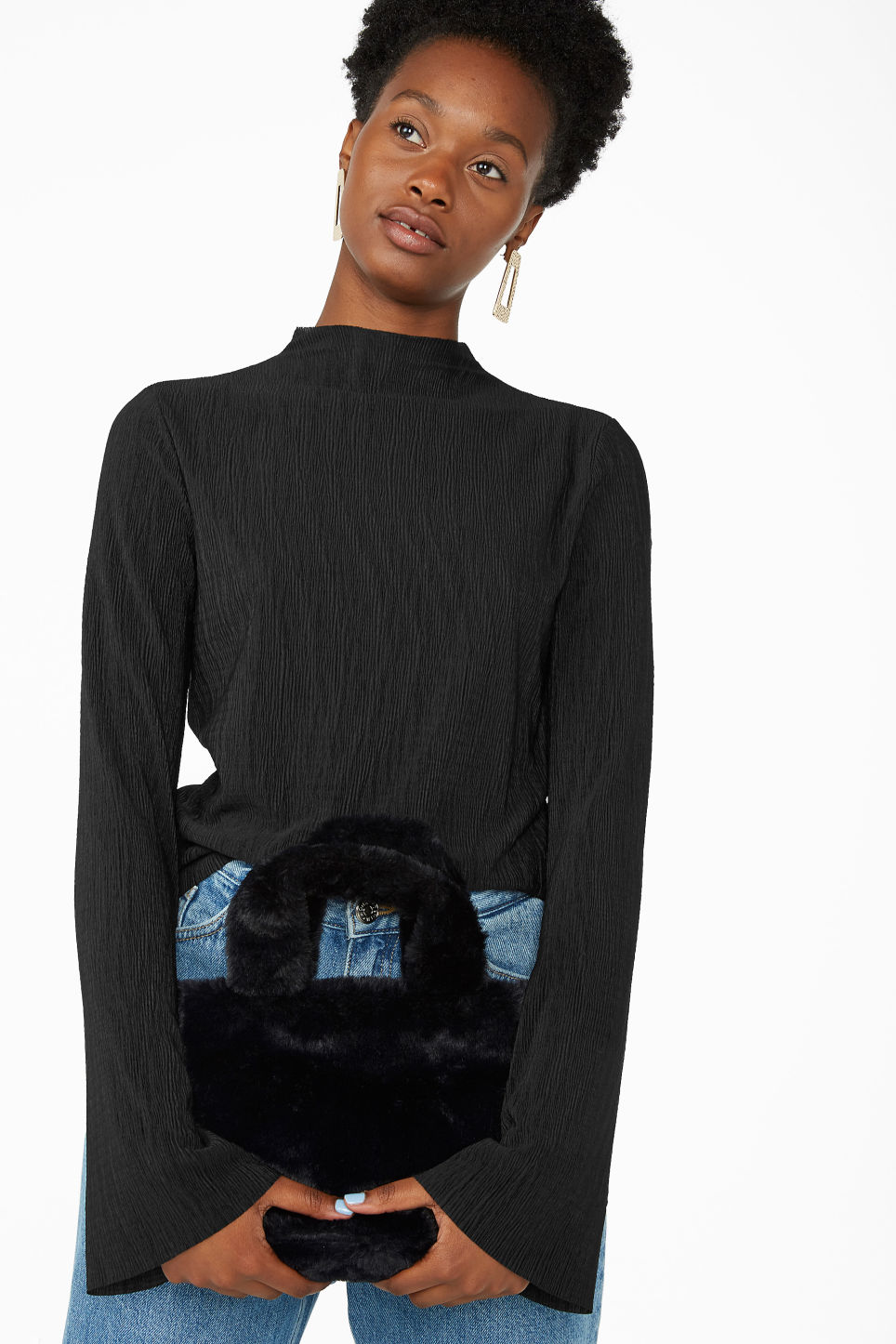 Model front image of Monki shirred top in black