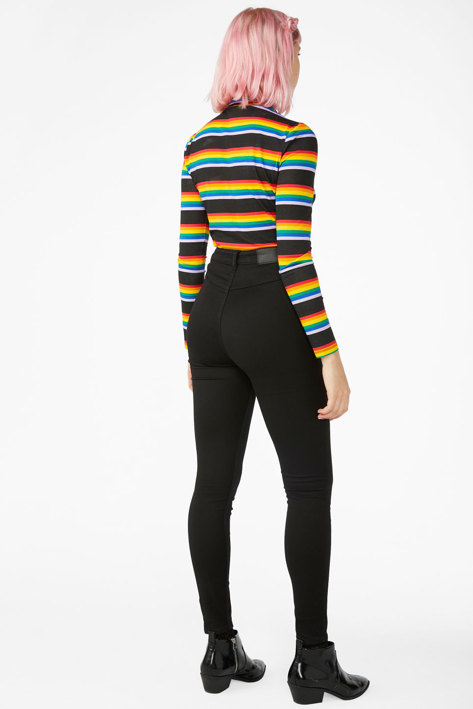 Model back image of Monki minna denim trousers in black