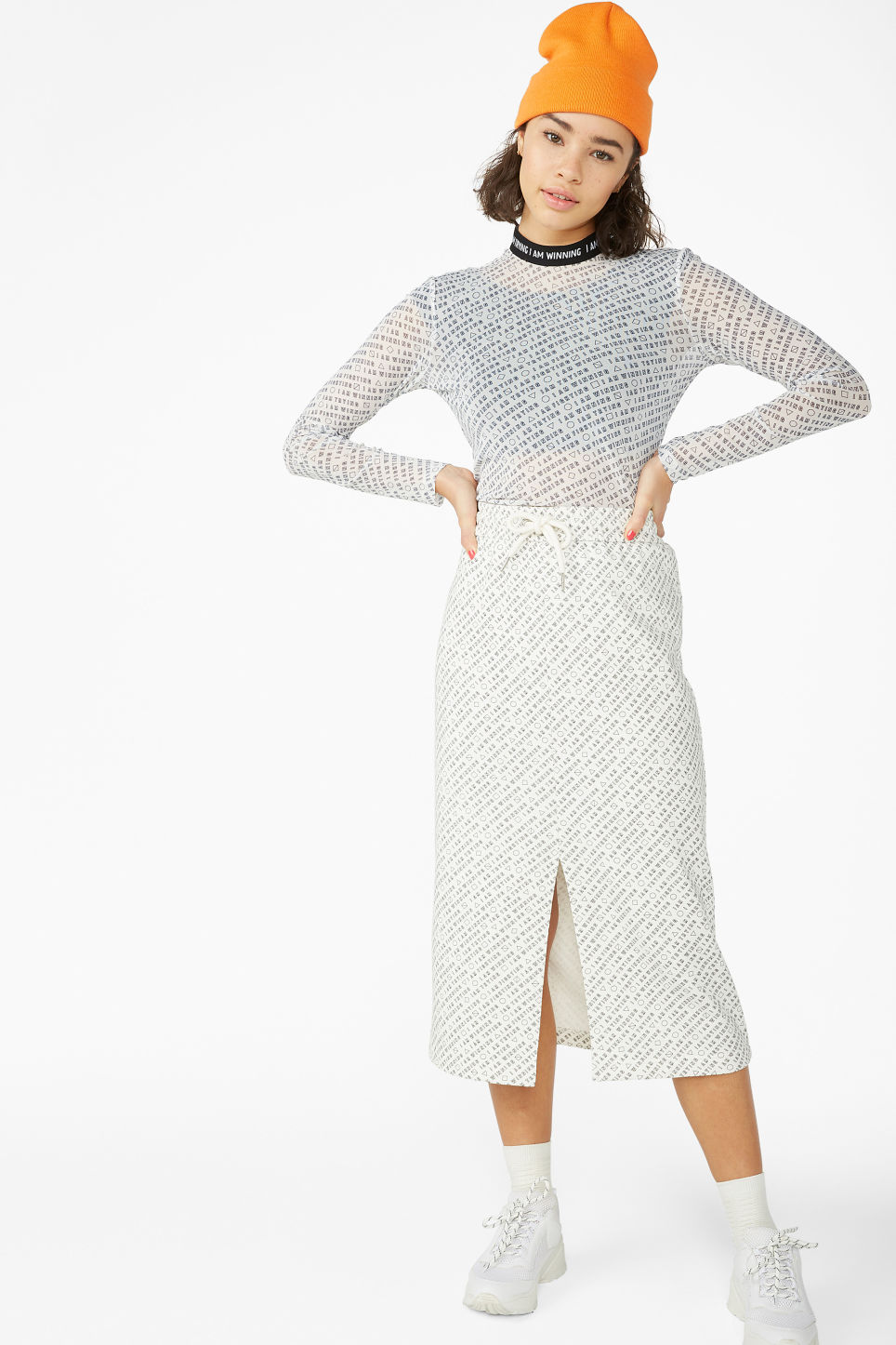 Model front image of Monki sporty mesh top in white