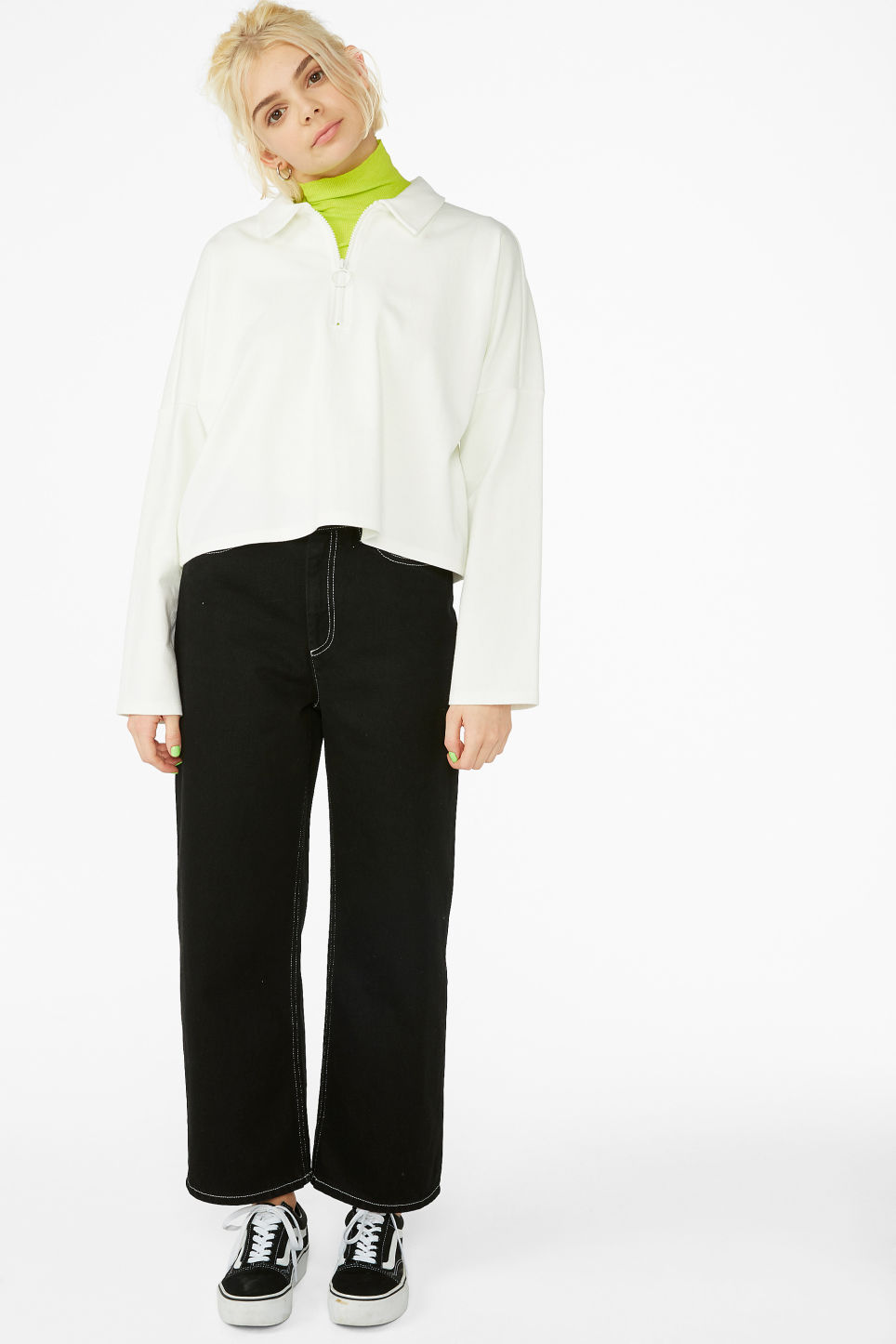 Model front image of Monki front zip top in white