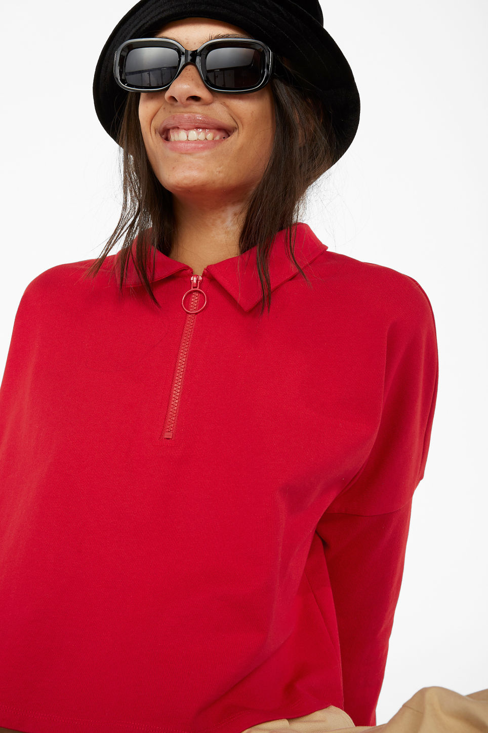 Model front image of Monki front zip top in red