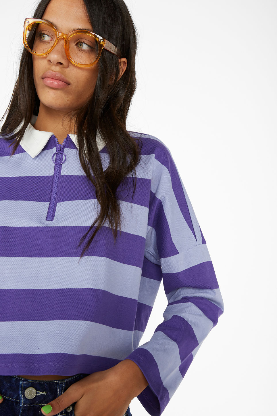 Model front image of Monki front zip top in purple