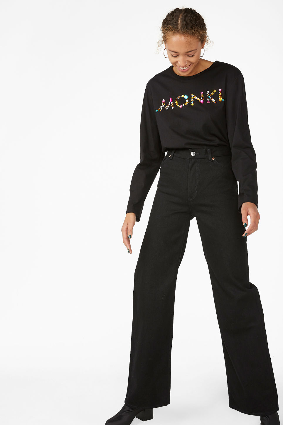 Model front image of Monki bedazzled monki top in black