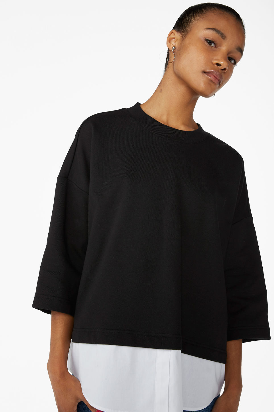 Model front image of Monki sweater with attached blouse hemline in black