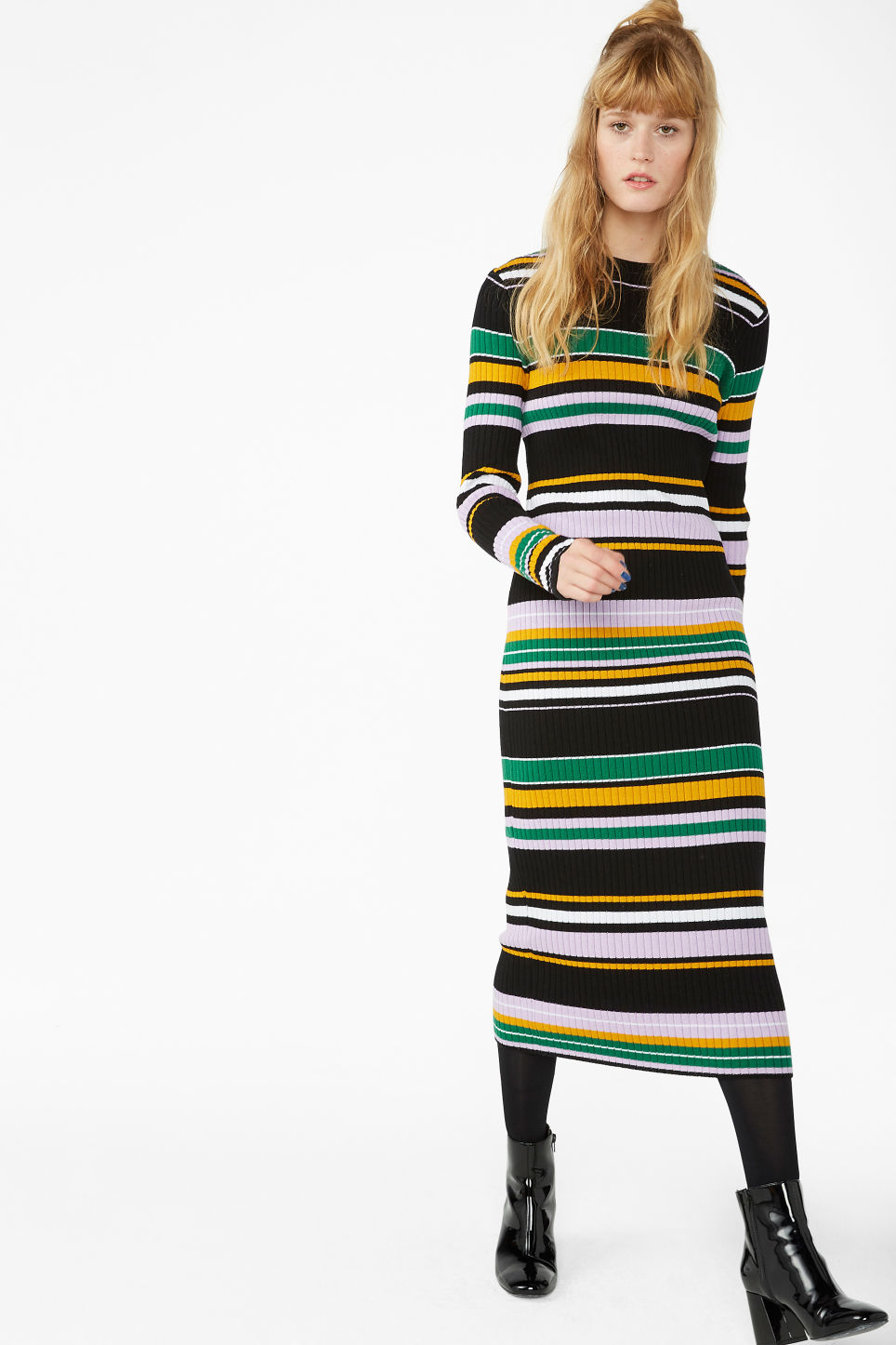 Model front image of Monki long stretchy dress in black