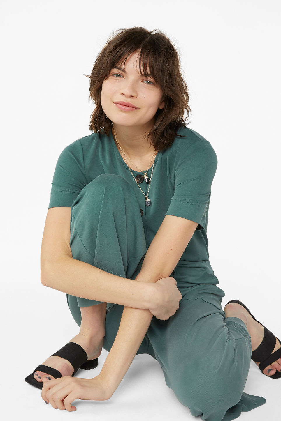 Model front image of Monki wide-legged jumpsuit in green