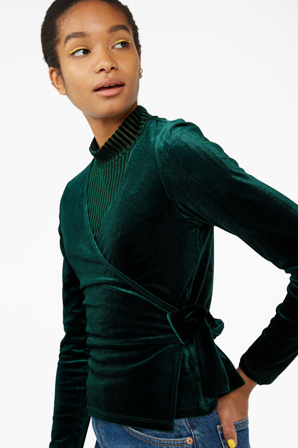 Model front image of Monki velvet wrap top in green
