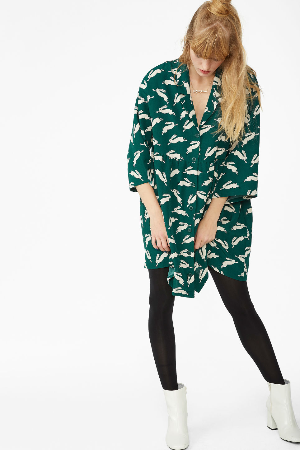 Model front image of Monki flowy buttoned dress in green
