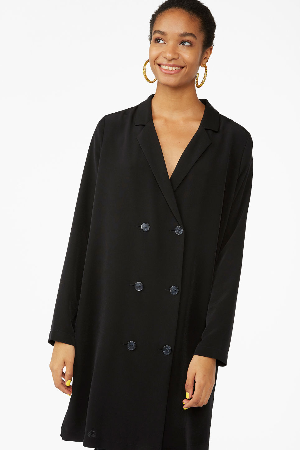 Model front image of Monki double breasted blazer dress in black