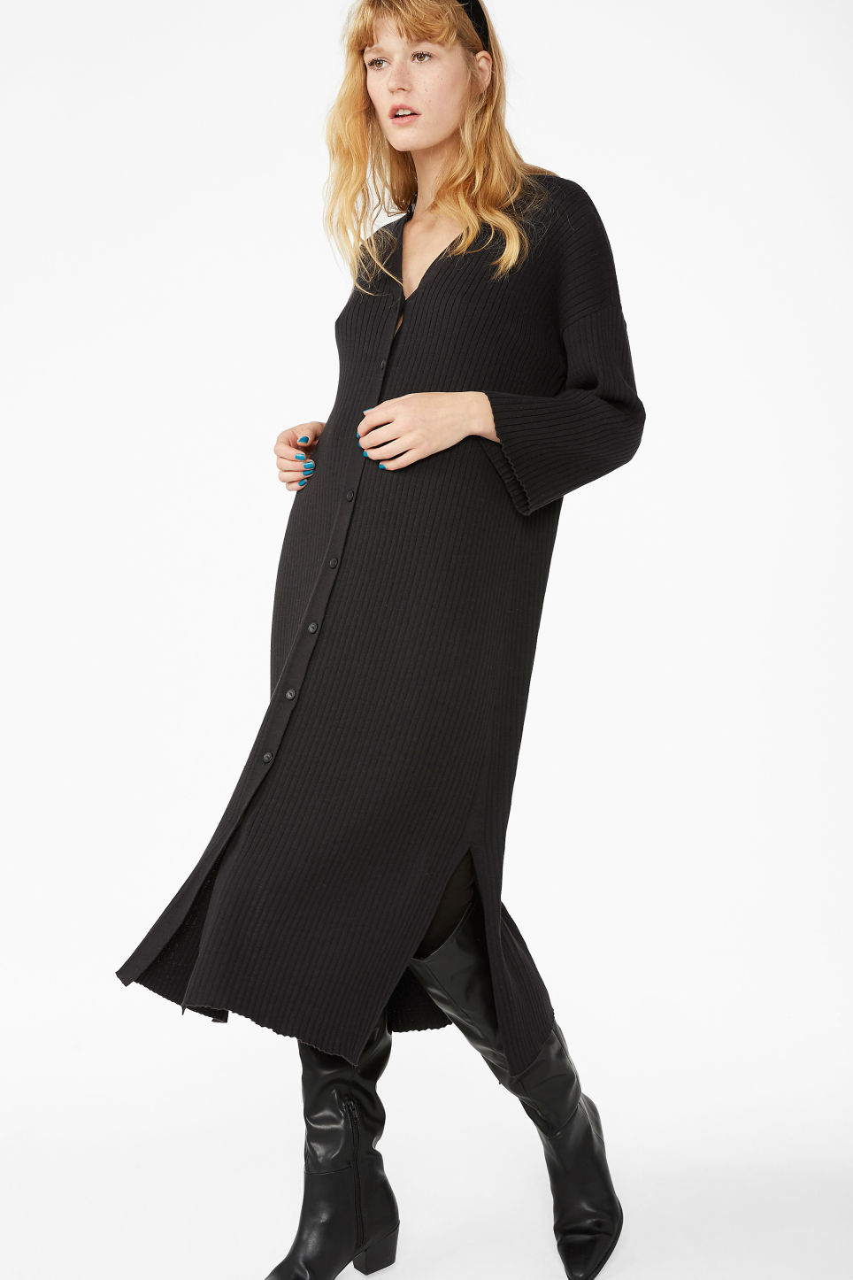 Model front image of Monki side slit cardigan dress in black