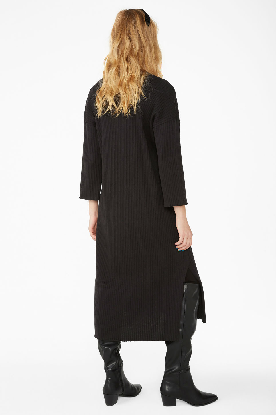 Model back image of Monki side slit cardigan dress in black