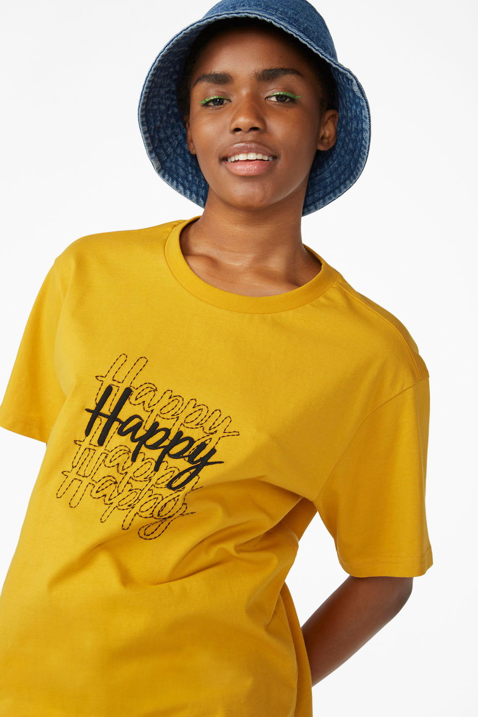Model front image of Monki cotton tee in yellow