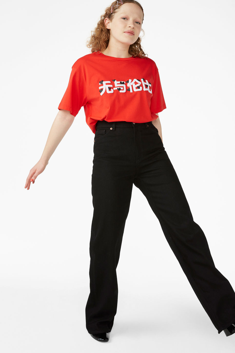 Model front image of Monki cotton tee in red