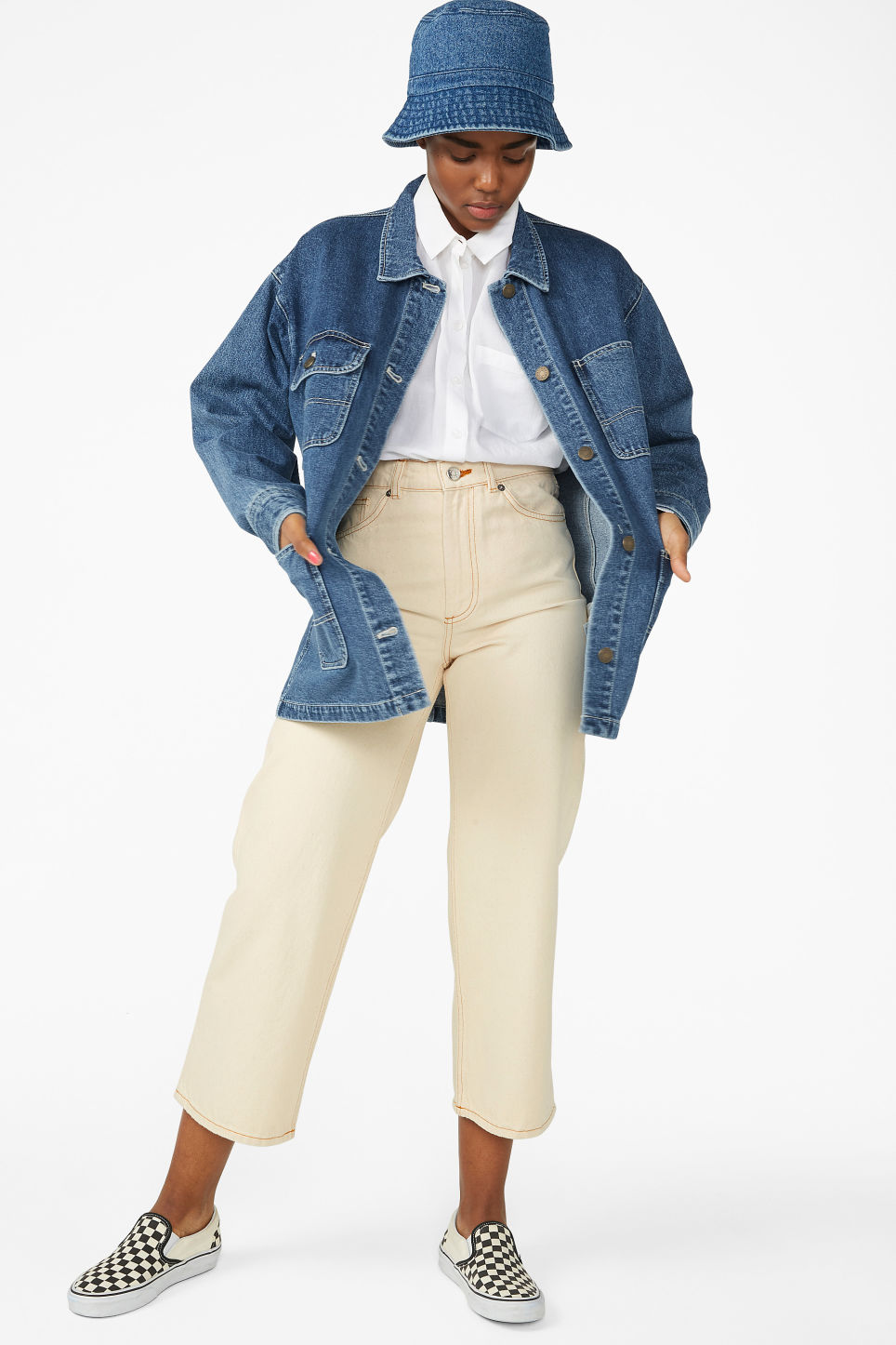 Model front image of Monki denim utility jacket in blue