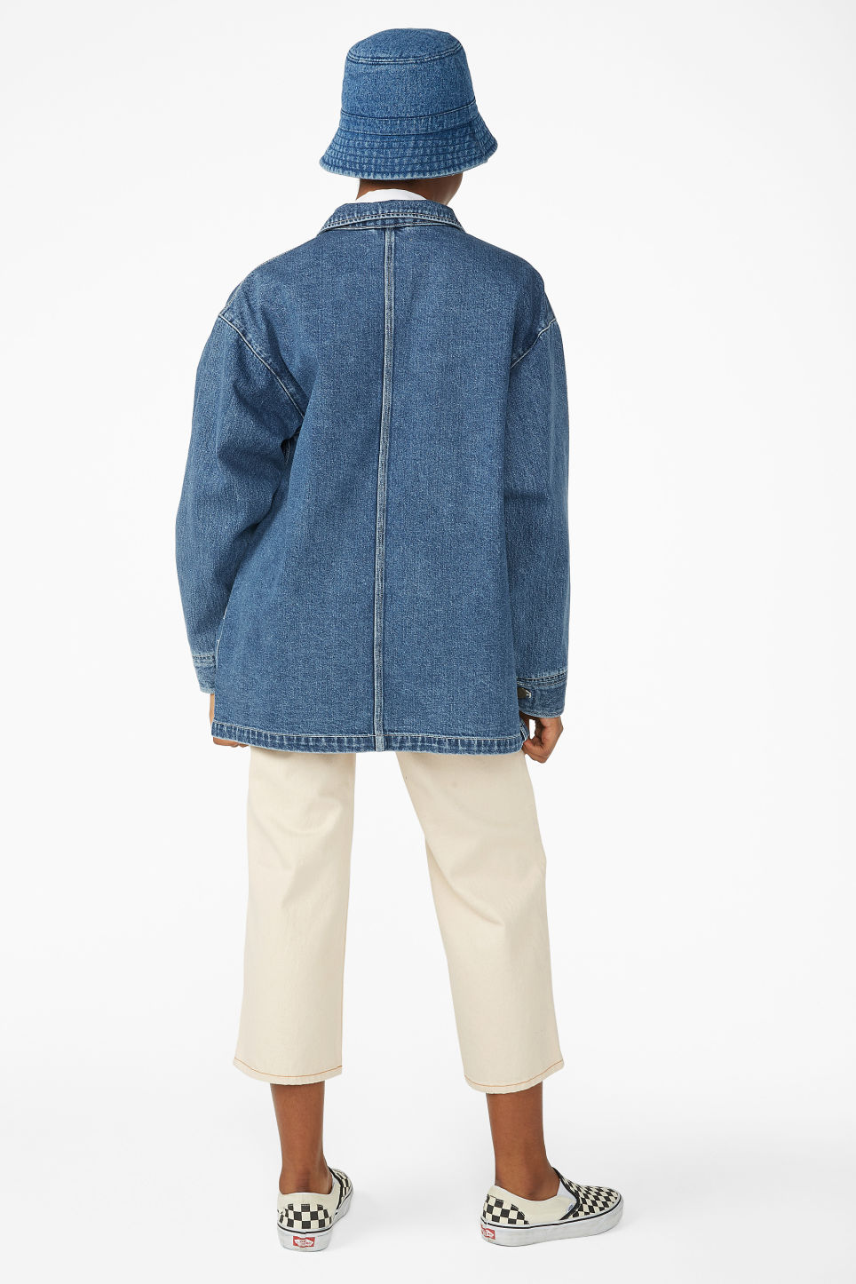 Model back image of Monki denim utility jacket in blue