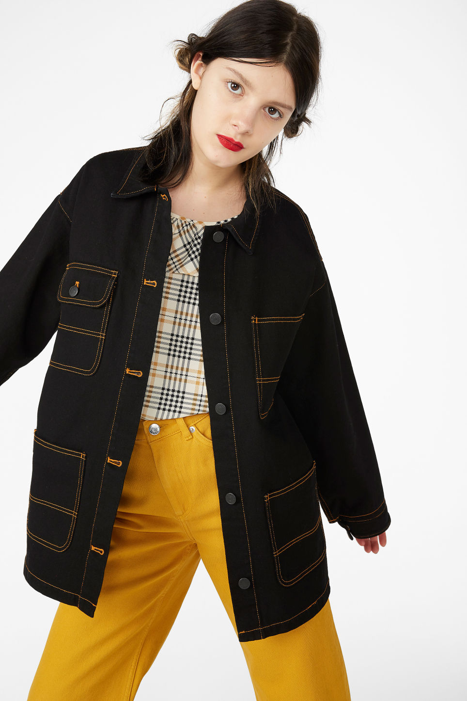 Model front image of Monki denim utility jacket in black