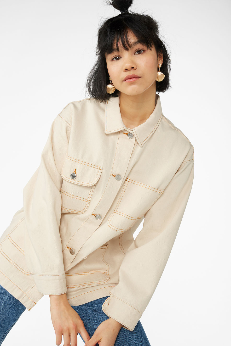 Model front image of Monki denim utility jacket in white