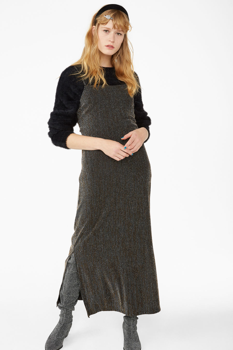 Model front image of Monki side slit dress in black